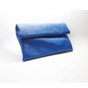 Blue Roll Top Clutch